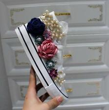 Magic Womens Floral High Top Decor Lace Up Casual Sneakers Beads Shoes Canvas Fl