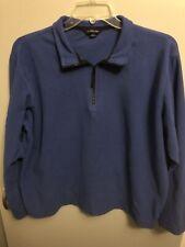 Lands' End Men's 1/4 Zip Fleece Pullover Jacket Blue Size XL 46-48~Free Ship