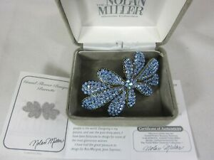 Nolan Miller Grand Flower Bouquet Hair Barrette With Blue Crystals