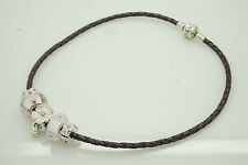 """Authentic Pandora Silver/925 Pink/Purple 5 Charms Leather Choker Necklace-13"""""""
