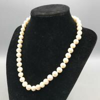 Vintage Silver Tone Clasp Faux Pearl Necklace Estate