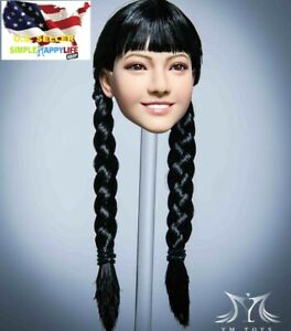 "1/6 female head sculpt Black hair for Phicen hot toys 12"" figure YMT046 A ❶USA❶"