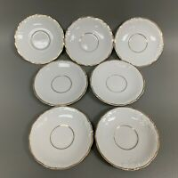 Royal Kent Poland Saucers White Gold Trim Lot of 7