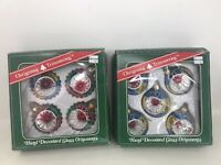 "VTG  Glass Ornaments Indent 2.5"" Christmas Trimmeries  Bradford Hand Decorated"
