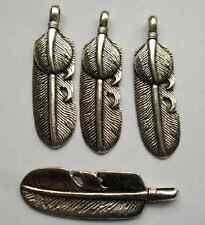 6pcs Tibetan silver feather charms pendant 53x15 mm