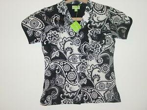 Vera Bradley Black White Midnight Paisley PJ Pajama Sleep Top-S 4-6-NWT-$28 NEW