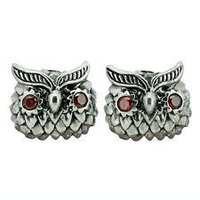 Owl Stud Earrings Red CZ Eye 925 Sterling Silver Stamped 4 g BELDIAMO