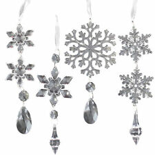 Set 4 PLASTIQUE Transparent Flocon de Neige Sapin de Noël pendant Décorations