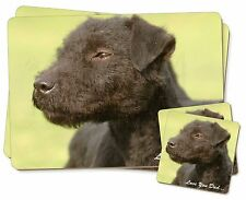 Patterdale Terrier Dog 'Love You Dad' Twin 2x Placemats+2x Coasters Se, DAD-88PC