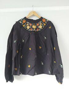 Seen Worn Kept Black Embroidered Floral Top Size 16 Uk Anthropologie
