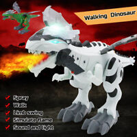 Walking Dragon Toy Fire Breathing Spray Dinosaur with Light Kid's Toy Xmas Gift