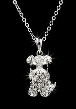 New Schnauzer Dog Austrian Crystal Charm Pendant Silver Chain Necklace