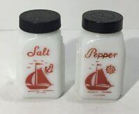 VINTAGE McKEE ROMAN ARCH White Milk Glass SALT & PEPPER SHAKERS ~ SAILBOAT RED