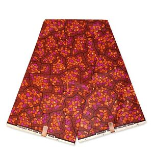 "African fabric ORANGE/PINK wax print fabric ""Mosaic"" Ankara kitenge wax cloth"