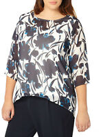 Brand New Size 14,16,18,20,22,24,26,28 Blue Floral Printed 3/4 Sleeve Top (b15)