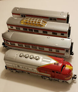 MTH O Gauge Santa Fe Train Set Engine 16 Dummy Observation Passenger Red/Silver