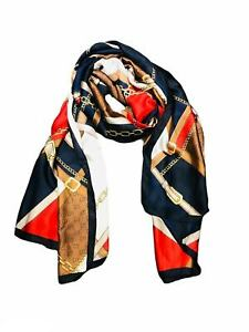 Silky Chain and Buckle print neck/head scarf gift