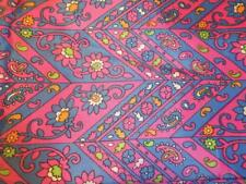 VTG Original Hippie 1960s Mod Paisley Print Pink Green Orange Silk Fabric 4 YDS