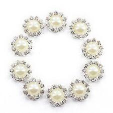 Crystal Bead Button flat back Decoration DIY 14.5mm 10 Pcs White E4O6