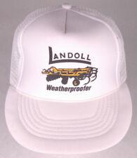 Vtg LANDOLL Weatherproofer Hat-White-Rope Bill-Mesh-Farm Equipment-Big Rig-Work