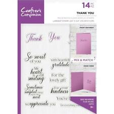 New  Crafters Companion rubber Stamp CLEAR word stamps THANK YOU free USA ship
