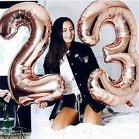 32INCH Rose Gold Foil Balloon Number 0-9 Letter Balloons Wedding Party Decor