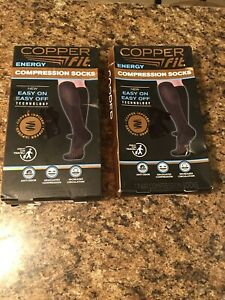 Compression Socks Energy By Copper Fit Size LXl 2 pairs
