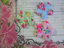 60 Shabby Rose Cotton Print Butterfly+Flower Applique/vintage/floral/design H169
