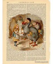 Alice in Wonderland Art Print on Antique Book Page Vintage w/ Dodo Bird Color