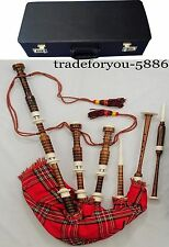 Scottish Full Set Bagpipes FulI Imitation Mount Royal Stewart Tartan Hard Case