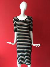 Next Knitted Nautical Multi Stripe Stretch Wiggle Short Sleeve Midi Dress 14 NEW