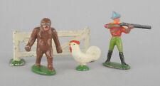 Vintage Wend-al Aluminium Lot - Cowboy, Gorilla, Chicken & Fence