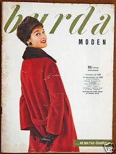 Burda Moden 10 / 1958 mit 2 Schnittbogen Modezeitschrift 50er Jahre