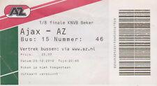 Sammler Used Ticket / Entrada Ajax Amsterdam v AZ Alkmaar 23-12-10 bus KNVB 1/8