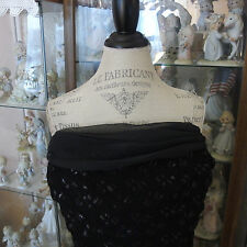 "VTG ""DAVE & JOHNNY"" Black Knit MAXI Dress w/silver lurex by Laura Ryner, size 2"