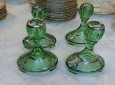 ANTIQUE 4 BOHEMIAN GREEN CANDLE HOLDERS  WITH SILVER PLATE DESIGN