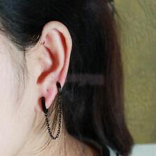 Unisex Black Piercing Double Ear Cuff ring Chain Clip Earring Stud Punk Biker