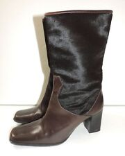 "Delman Brown Cow Hide Fur Boots Womens Shoes Heels 9.5"" Long Size Unmarked"