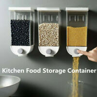Press Kitchen Food Grains Storage Box Container Wall Mount Cereal Rice Dispenser