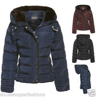 NEW PADDED Womens Fur WINTER COAT Ladies Jacket Size 8 10 12 14 16 Quilted Black