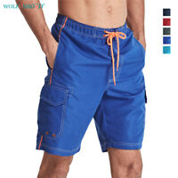 Men's Swimming Shorts Beach Board Shorts Holiday Jogger Trunks Pockets Bottoms
