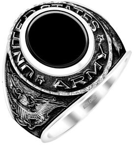 New Men's Antiqued 0.925 Sterling Silver US Army Solid Back Ring