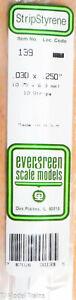 """Evergreen Styrene #139 (.030"""" Thick - 14"""" Long; pkg(10) -- x .250"""" (Plastic)"""