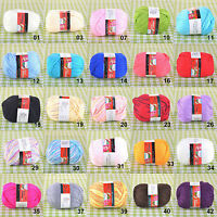 50g Skein Soft Milky Fiber Silk Cotton Baby Knitting Yarn Sport - 25 Colors