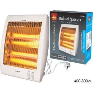 Stufa Elettrica 2 Elementi al Quarzo 800W Radiatore Stufetta Casa Ufficio Studio