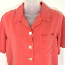 Tommy Bahama Shirt Orange Button Down Silk Womens Medium