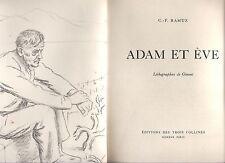 C. - F. ramuz, Adam et Eve, lithographies Gimmi, Editions du trois collines GENEVE 1949