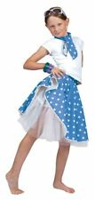 ROCK 'N' ROLL SKIRT. BLUE, GIRLS COSTUMES, FANCY DRESS