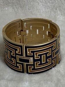 Spartina 449 Gold Tone Black Enamel Bracelet # 5915