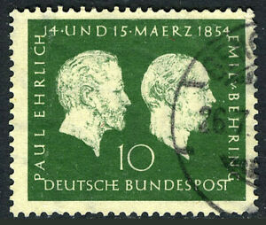 Germany 722, Used. Paul Ehrlich and Emil von Behring, medical researchers, 1954